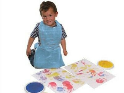 100 Kids Childs Small Disposable Polythene Plastic Aprons Art Craft