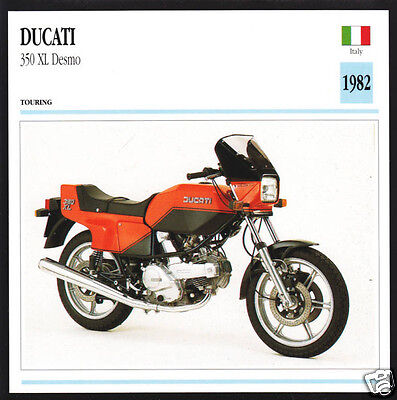 1982 Ducati 350cc XL Desmo Italy Race Motorcycle Photo Spec Sheet Info Card