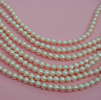 7-8MM  Ivory White Round Freshwater Pearls AAA One Strand 15.6'' 39CM