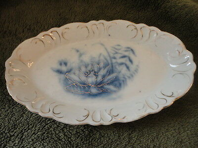 Flow Blue Water Lilly Oval Tip Tray soap dish relish Trinket dish 6 in L Vintage