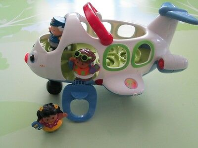 Fisher Price Little People Lil Movers Airplane W/ Sounds Pilot & 2 Passengers