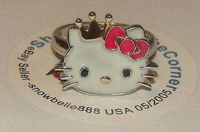 HELLO KITTY SANRIO SOLID 925 STERLING SILVER GP Crown Red Bow  Ring 5.6GRMS Sze7