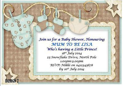 20 x BOY BABY SHOWER PERSONALISED PARTY INVITES INVITATIONS + MAGNETS