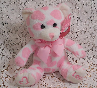 Valentines Day Pink & White Stuffed Bear with Pink Ribbon - Heart & Love On Feet