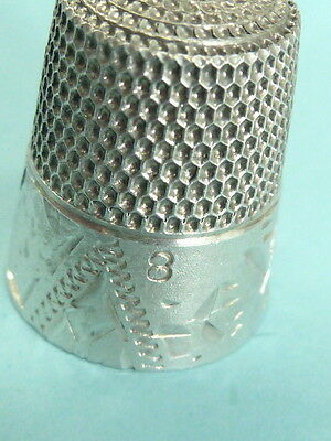 Victorian Antique Sterling S Inside Bell  Sewing Thimble Engraved Design Thimble