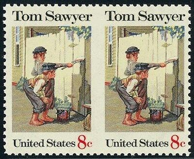 1470a - 6c Tom Sawyer - Horiz. Pr. Vert. Imperf Between - RARE - 2001 PF Cert