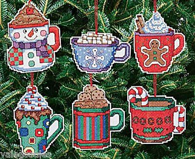 Janlynn Counted Cross Stitch kit CHRISTMAS COCOA MUGS  ORNAMENTS Sale #021-1413