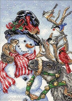 Dimensions Counted Cross stitch kit ~ SNOWMAN & REINDEER Sale #08824