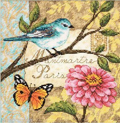 """Dimensions Gold Counted Cross Stitch kit 6"""" x 6"""" ~ BIRD POSTE #70-65103 Sale"""