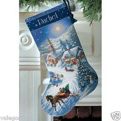 """Dimensions Counted Cross Stitch kit 16"""" Stocking SLEIGH RIDE AT DUSK #08712 Sale"""