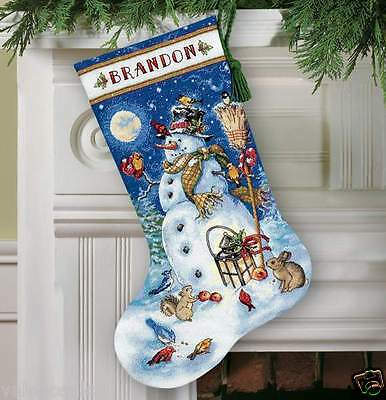 Dimensions Gold Counted Cross Stitch kit Stocking ~ SNOWMAN & FRIENDS #70-08839