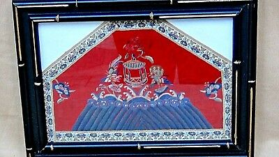 Antique 19C Chinese Silk Embroidery Civil Rank Forbidden Stiches Birds & Flowers