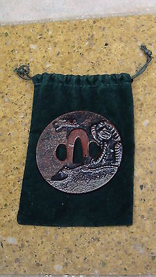 "Japanese  Samurai Bronze Tsuba ""festal""signed,with A Tiger Relief"