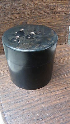 Antique 19C Chinese Black Lacquered Round Conteiner Box With The Painting On Lid