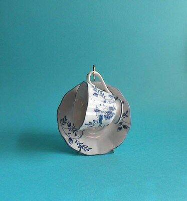 Andrea by Sadek TEACUP SAUCER, Blue & White Bird Pattern, Coffee Tea Cup Saucer