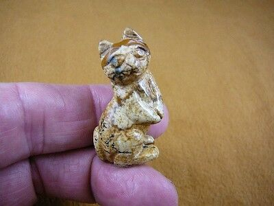 (Y-CAT-SIP-559) little tan standing CAT kitten GEMSTONE carving figurine cats