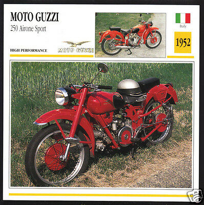1952 Moto Guzzi 250cc Airone Sport (247cc) Italy Motorcycle Photo Spec Info Card