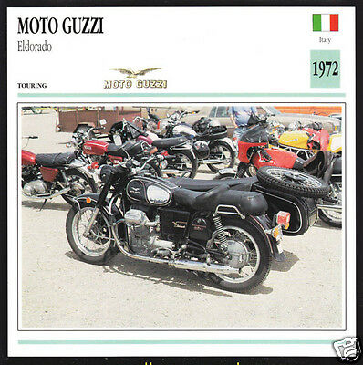 1972 Moto Guzzi Eldorado 900 (844cc) Italy Race Motorcycle Photo Spec Info Card