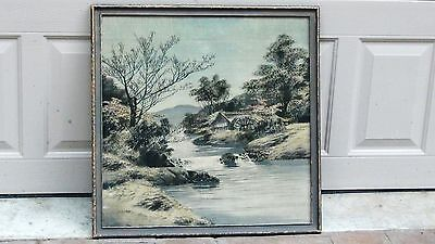 Antique19C Meiji Japanese Ink On Silk Painting Landscape Scene In Period Frame