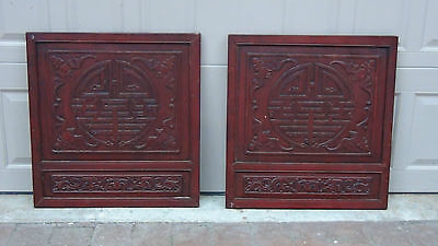 Pair Antique 19C Chinese Rosewood Hand Carved Large Wall  Medalion Panels