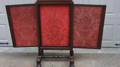 Antique Chinese Mahogany Carved Silk 3 Slider Removable Panels Fire Screen,rare