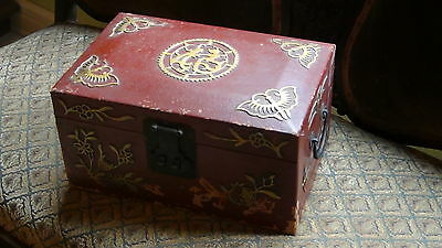 Antique  19C Chinese Leather  Jewerly Box Decorated With Phoenix Bird