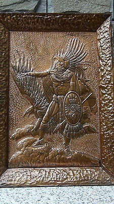 """Rare Antique Chassed High Relief Copper Plaque """"American Indian Warrier & Eagle"""""""