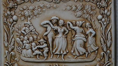 "Antique  Dutch Early 19 C Glazed Ceramic Pottery ""peasants Celebrating"""