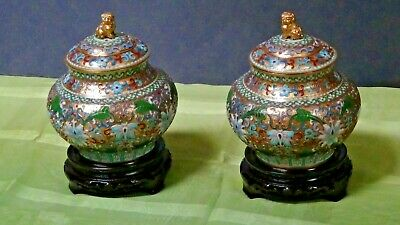 Pair Antique   Chinese Cloisonne Covered Jars Fu -Lion On The Top