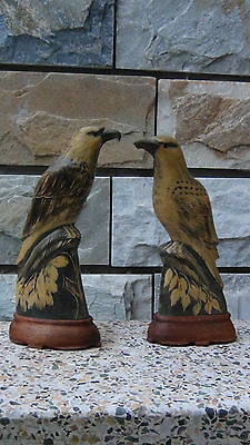 Pair Antique Chinese  Horn Hand Carved Detailed Eagles Statues On,stand.