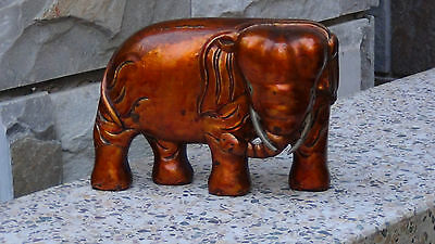 Antique 19C Chinese Wood Hand Carved Elephant Statue Temple Element Golg Glaze