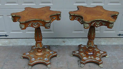 Pair Antique 19C French Louis Xv Inlaid,ormolu,porcelain Medallions Side Tables