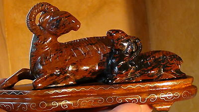 Antique 19C Chinese Hard Stone Carved Statue Of Rams On Rosewood Inlaid Stand