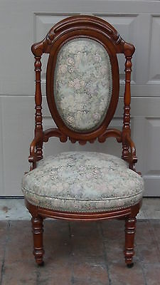 Antique Oak Upholstered Hand Carved Lady's Side Chair Victorian Circa 1850