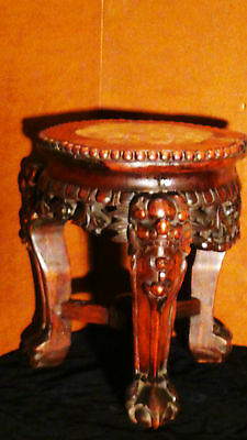 Antique19C Chinese Rosewood Hand Carved Urn Stand With Marble Top Beaded Edge