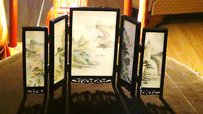 Antique Chinese Miniature Painting On Stone Doublesided  Table Screen