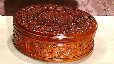 Antique 19C Chinese Mahogany Ood Hand Carved Storage Box Floral Relief Ornament