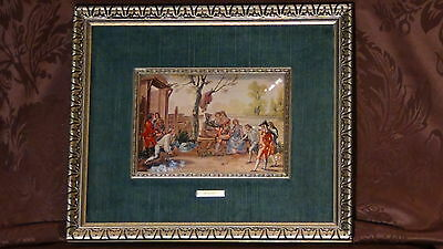 """Antique After R. Bayeu Enamel Painting On Copper""""cort Yard In 18C Nobles Play """""""