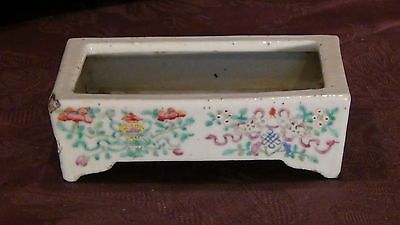 ANTIQUE CHINESE FAMILLE ROSE PORCELAIN 4 LEGS PLANTER WITH FLOWERS &SYMBOLS