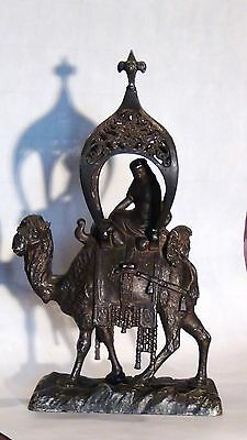 Antique 19C Asian India Pewter Woman Seating On The Camal Under A Tent,rare.