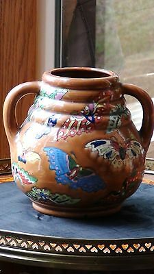 Antique Early 20C Japanese Pottery Vase With Hand Painted Glazed Butterflies