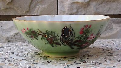 Antique 19C Chinese Porcelain Celadon Bowl Birds &Tree W/ A Blue Foo-Dog Inside