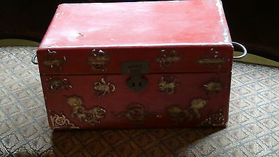 Antique  19C Chinese Leather In And Out  Jewerly Decorated Box