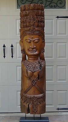 Antique Thai Live Size Teak Wood Statue Of Bodhisattva Totem On Raised Stand