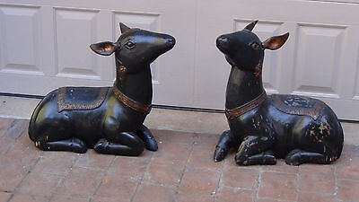 Pair  Rare Antique 19C Chinese Large Wood Hand Carved Floor Deer Statues,
