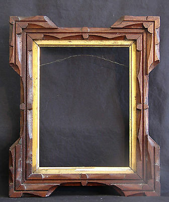 """Antique 19th Century Carved Walnut Wood Frame with Gold Liner 10"""" x 12"""""""
