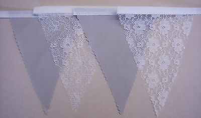 Fabric Bunting WHITE /& WHITE LACE Wedding Party Decoration homemade 1mt or more