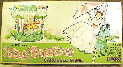VINTAGE 1964 WALT DISNEY'S  MARY POPPINS CAROUSEL GAME Good Cond. Missing Marker