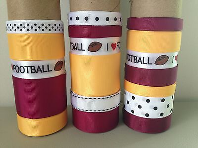 LOT OF 18 YDS. OF GROSGRAIN RIBBON - WINE / LT. GOLD / FOOTBALL - B0630