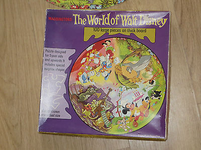 Vintage The World Of Walt Disney circular Jigsaw.100 piece puzzle on thick board